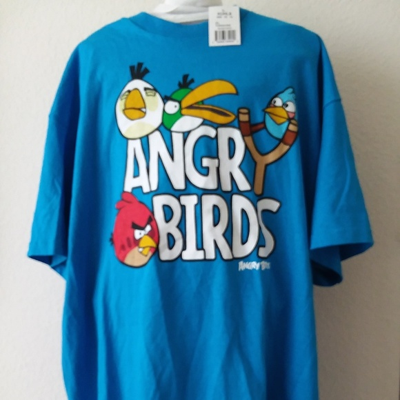 Angry Birds Turquoise Sling Shot T Shirt Mens XL NWT